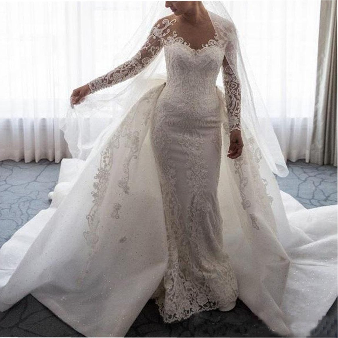 Mermaid Wedding Dresses With Sleeves: Ainisha Women's Elegant Long Sleeves Mermaid Wedding Dress