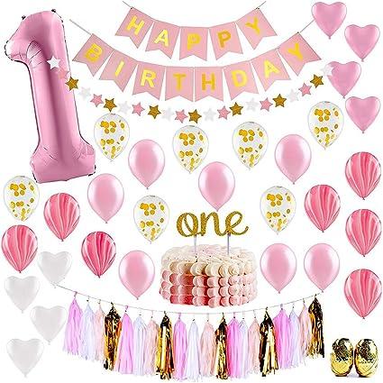 1e Verjaardag Meisje Jongen Decoratie Roze Gouden Feestartikelen Decoratie 1e Verjaardag Gelukkige Verjaardag Banner Nummer 1 Verjaardag Ballon 1 Jaar Taart Rij Verjaardag Decoratie Amazon Co Uk Kitchen Home