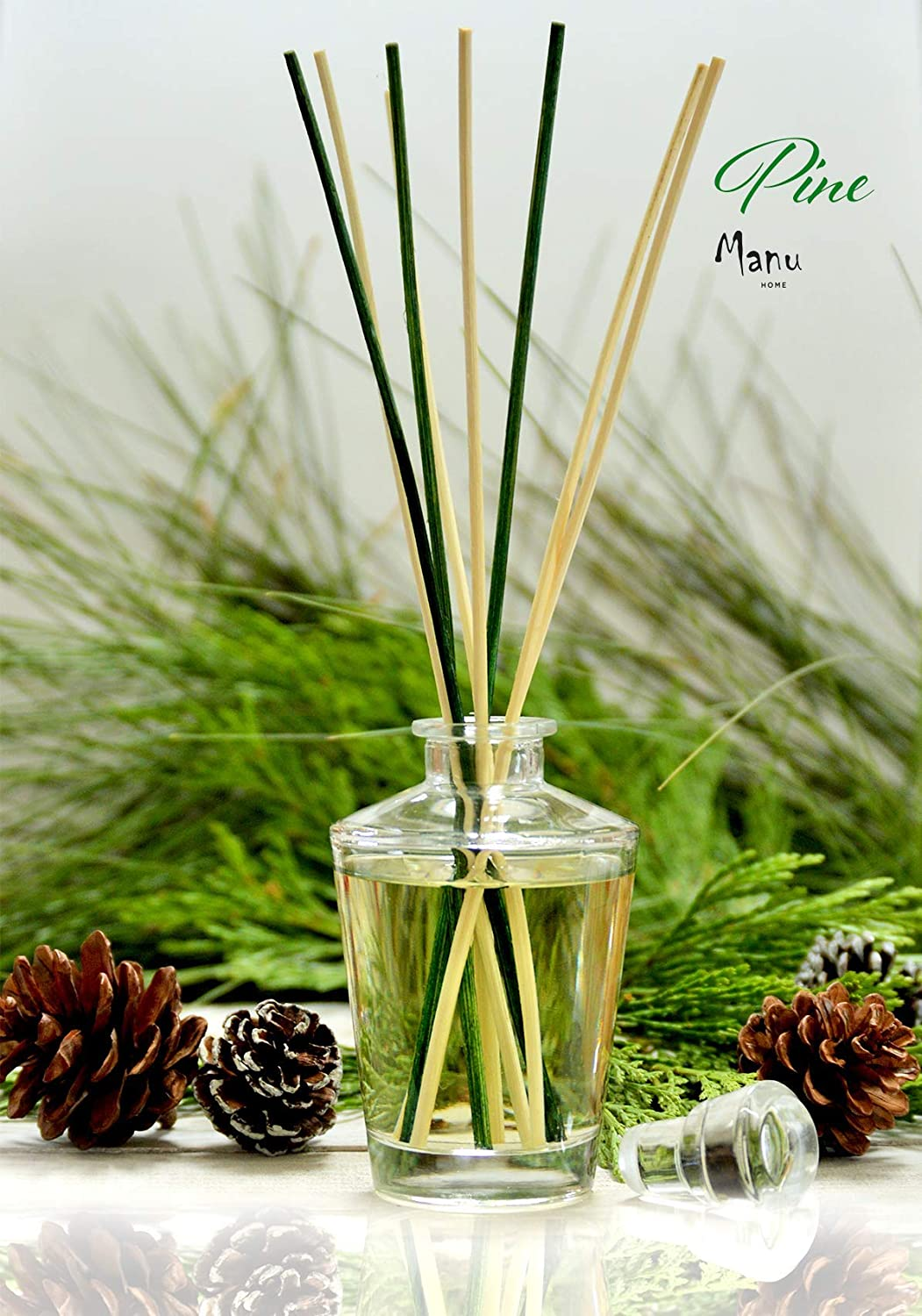 Manu Home Fresh Forest Pine Diffuser ~ The Scent of Pine with Cedar Wood, Patchouli and Thyme. Our Natural Reeds Produce a Light, Delicate Fragrance Drawn from Pure Essential Oils of botanicals~ 4oz