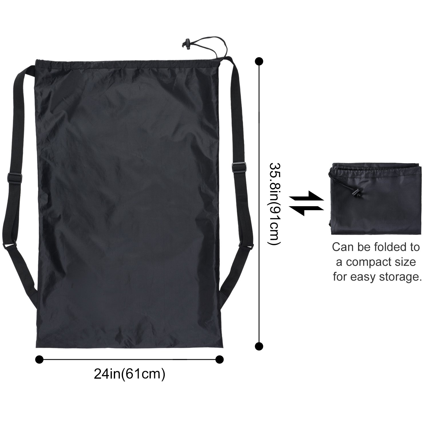 Lifewit 24'' x 36'' Laundry Backpack Bag, Heavy Duty Laundry Washing Bags with Door Hooks and 2 Adjustable Shoulder Straps for School Dormitory, Camping,Laundry Room, Outdoor Travel, Black by Lifewit (Image #4)