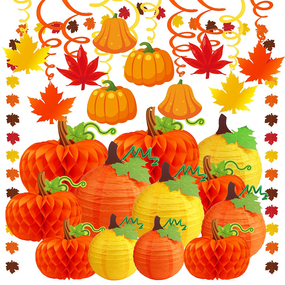 Supla 23 Pack Fall Decorations Hanging Honeycomb Paper Tissue Pumpkins Hanging Pumpkin Paper Lanterns Fall Hanging Swirl Maple Leaf Paper Garland for Thanksgiving Halloween Shower Birthday Party Decor by SUPLA