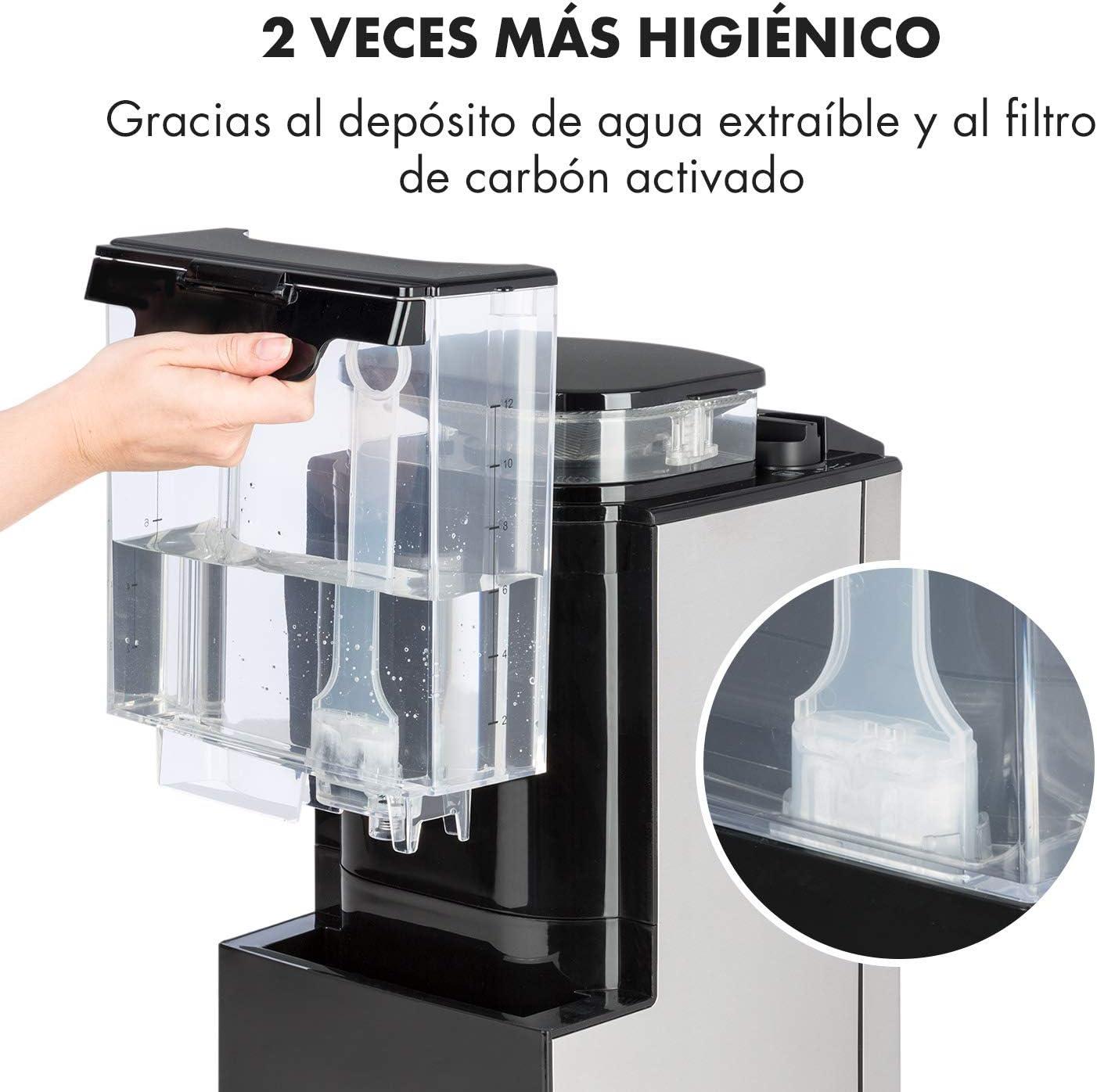 Negro 1000 W Klarstein Aromatica II m/áquina de caf/é con molino Programable 24 horas M/áquina de caf/é con filtro Filtro de carb/ón activo permanente Jarra de vidrio de 1,25 litros
