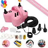 Electric Balloon Pump,Portable Dual Nozzle Pink 110V 600W Electric Balloon Blower / Inflator with Multipurpose Hose…