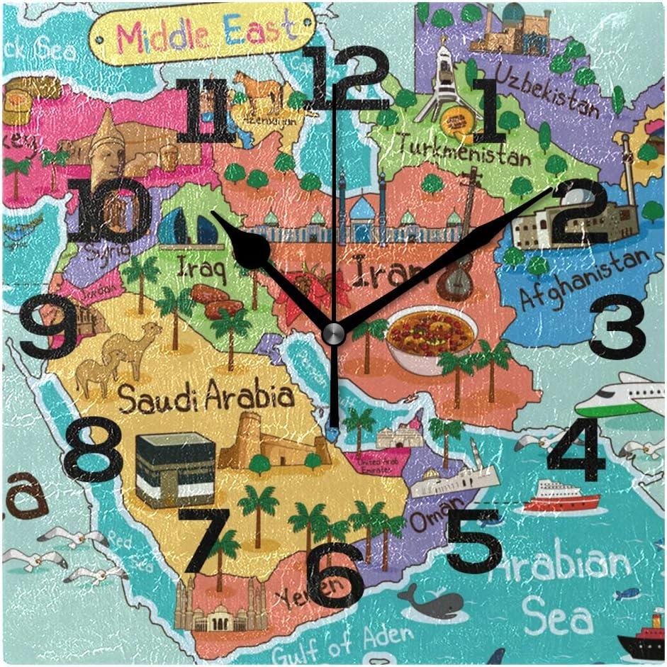 AMONKA - Reloj de pared cuadrado con mapa de Oriente Medio y lugares de interés para decoración del hogar, sala de estar, dormitorio, cocina, escuela, oficina