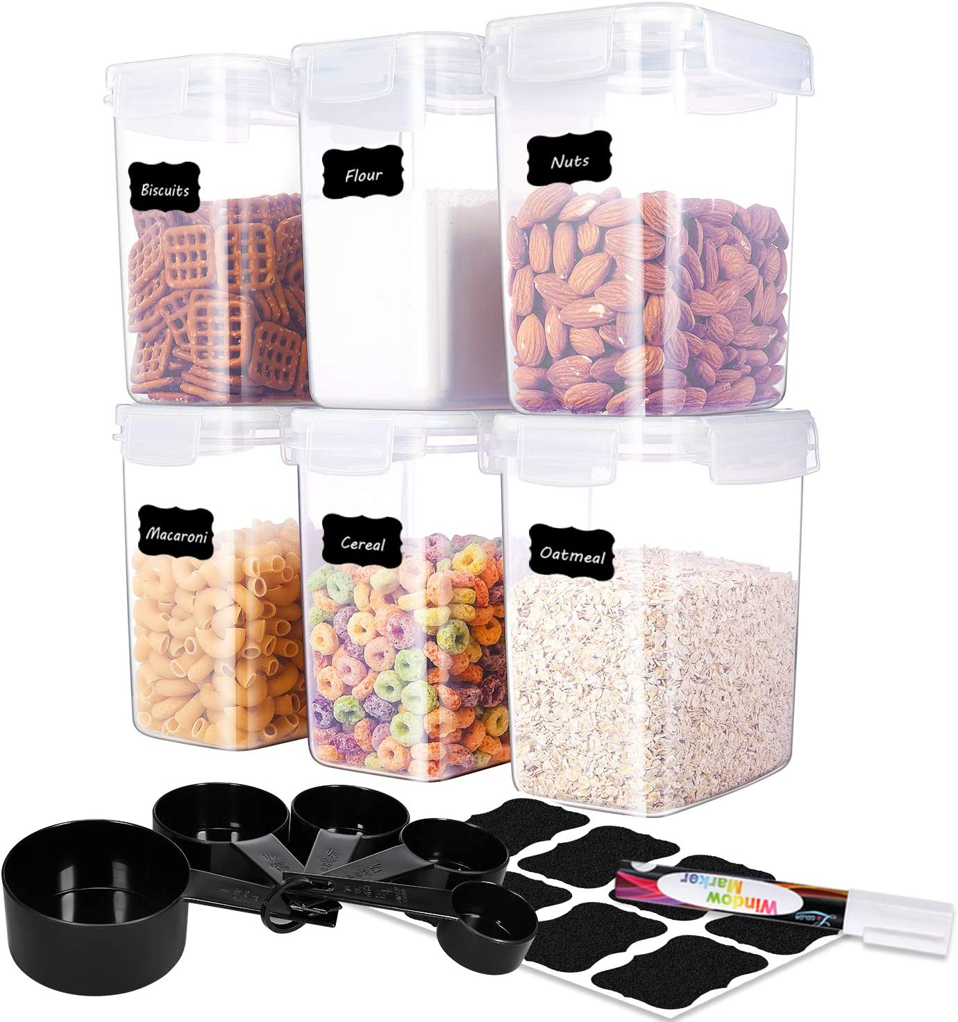 ME.FAN Medium Food Storage Containers [Set of 6] Airtight Storage Keeper 1.6L(54.1oz) with 5 Set Measuring Cups 24 Chalkboard labels & Pen Ideal for Sugar, Flour, Baking Supplies (White)