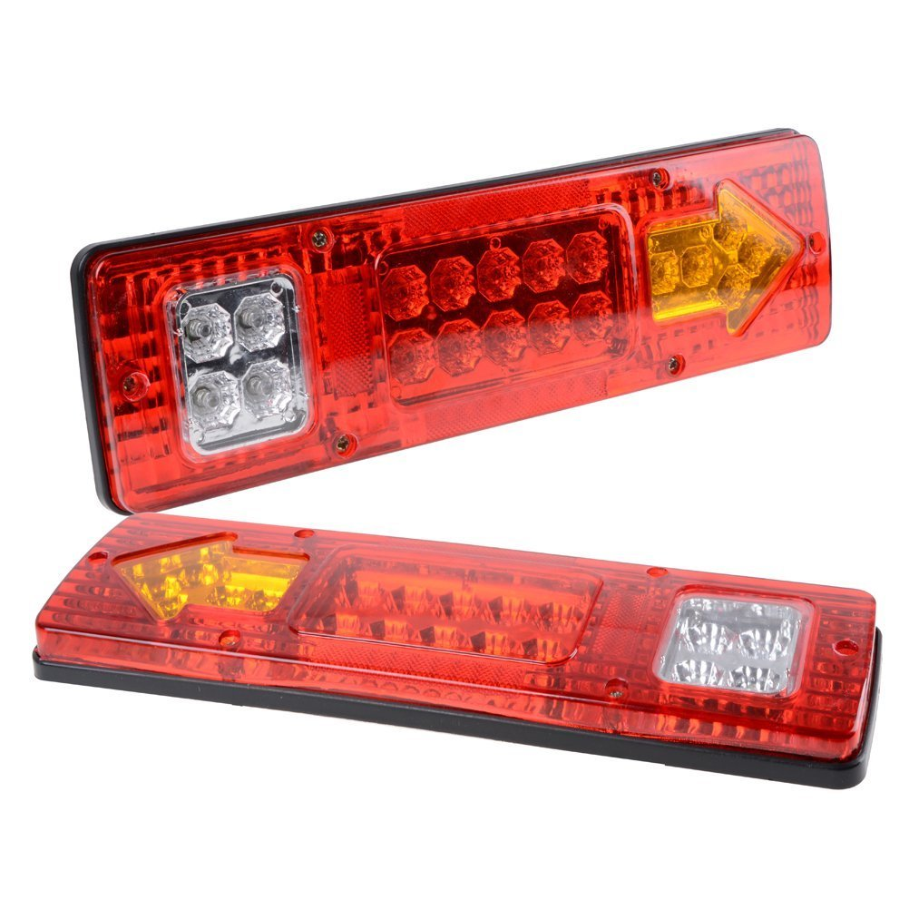 PerfecTech 1pair RV ATV Truck 19 LED Red White-Amber Integrated Tail Lights Turn Signal Running Lamp