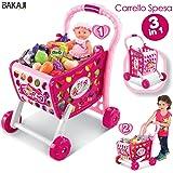 7ab18d15fef0 BAKAJI Carrello della Spesa Supermarket 3in1 con Frutta e Verdura  Giocattolo per Bambini (Rosa)
