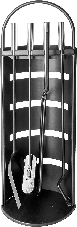ADGO Lot de 5 outils modernes pour chemin/ée En acier inoxydable demi-cercle pince Pinceau Noir support Poker pelle