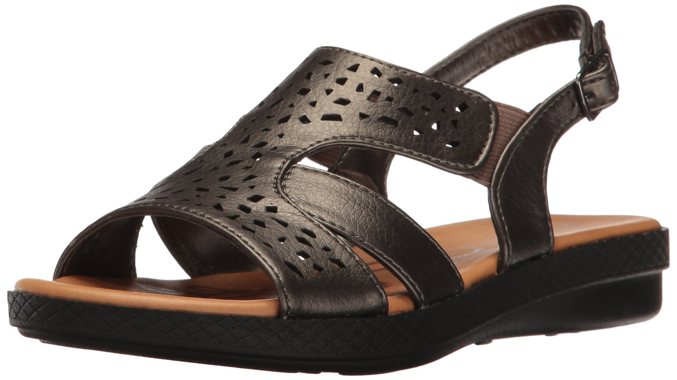 Easy Street Women's Bolt Flat Sandal, Pewter, 6.5 W US