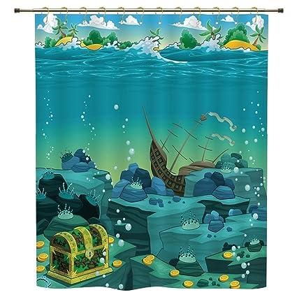 Shower CurtainCartoon DecorSeascape Underwater With Treasure Galleon And Sunk Ship Pirate Kids