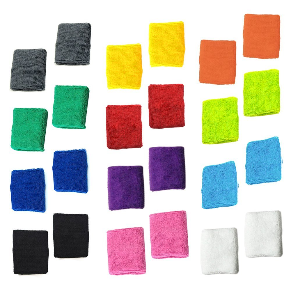 12 Pairs of Different Color Cotton Sweat Sports Basketball Wristband (Wristband C) Lenhart