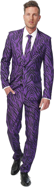 Suitmeister - Traje para hombre compuesto de chaqueta, pantalones y corbata, disponible en diferentes estampados divertidos - Morado - XX-Large