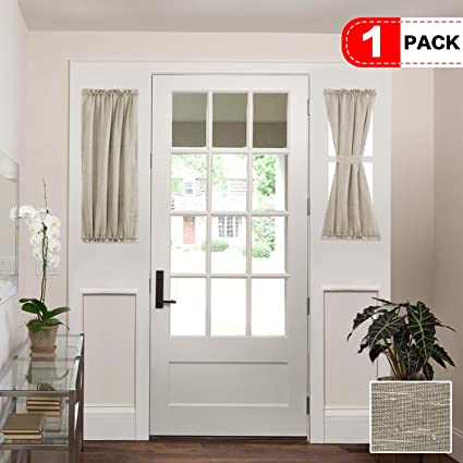 Attrayant H.VERSAILTEX Faux Linen Semi Sheer Voile Half Window French Door Curtains,  Rod Pocket