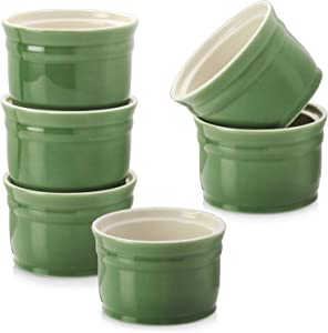 DOWAN Ramekins, Porcelain Ramekins 6 oz Oven Safe, Set of 6 Ramekins for Creme Brulee, Souffle Dishes Custard Cups Dessert Small Bowls for Pudding, Green Ramekins for Baking
