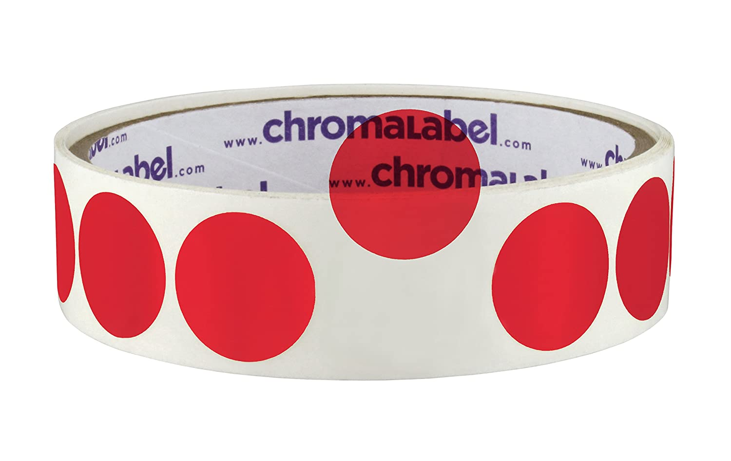 Amazon com chromalabel 3 4 inch see through colored dots 100 roll red office products