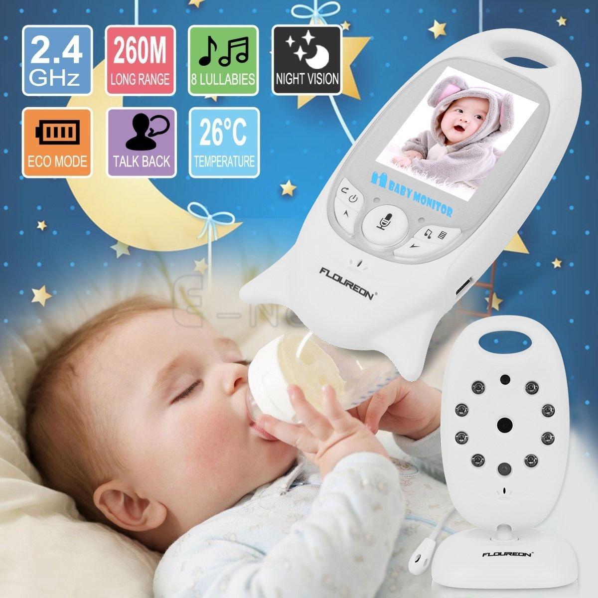 FLOUREON 2.0 Inch WIFI Baby Monitor Infant IR LCD Video Nanny Security Camera Temperature Display 2 Way Talk Night Vision Lullabies (2.0\