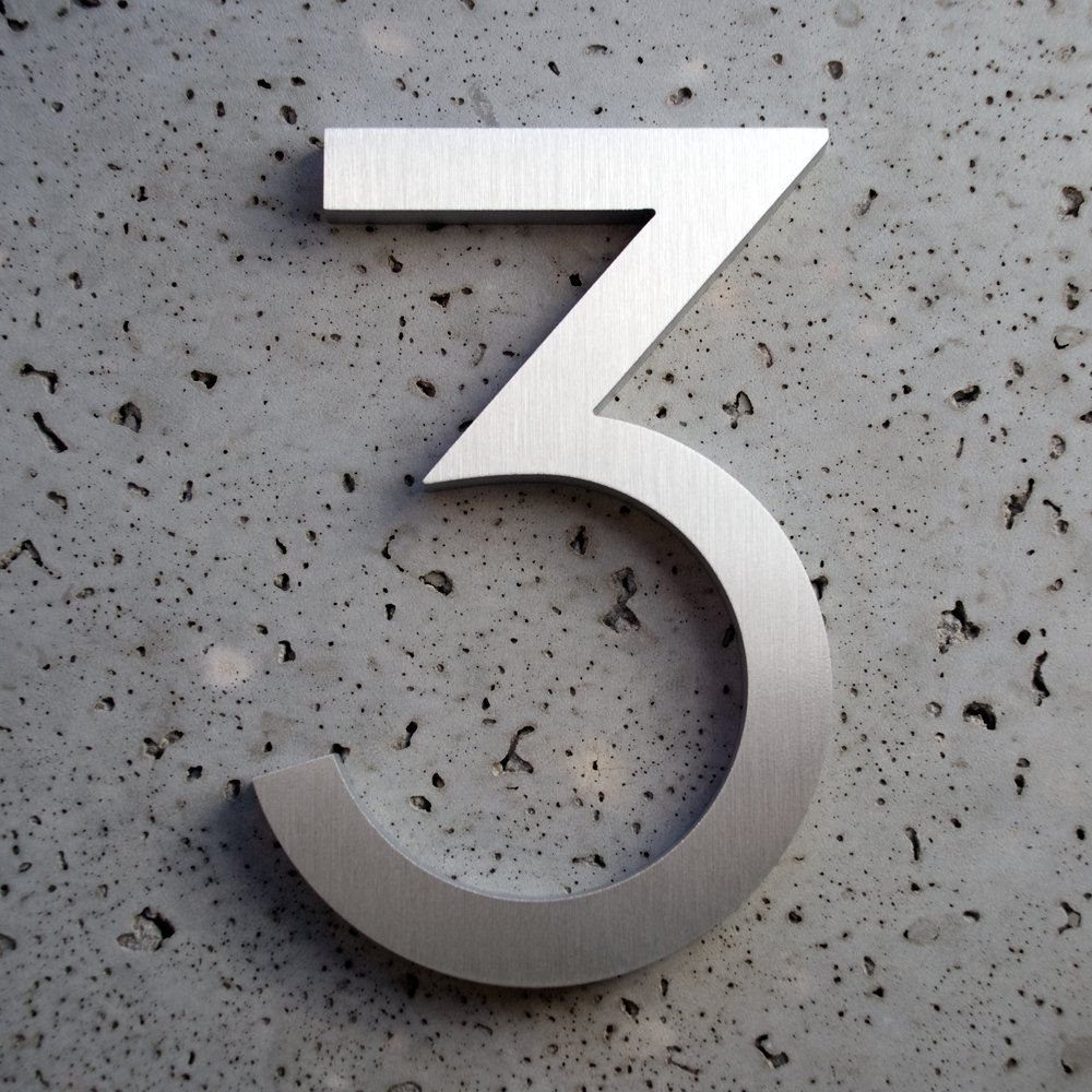 "Modern House Numbers Brushed Aluminum Modern Font Number Three ""3"" 4 inch"