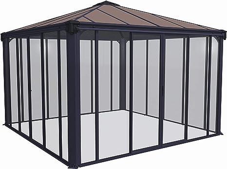 Palram Ledro Cenador de jardín Cerrado, Estructura de Aluminio con Paredes (3600, Gris): Amazon.es: Jardín