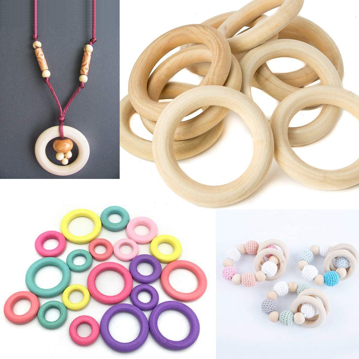 50pcs Wood Ring BetterJonny 30mm//40mm//50mm//60mm//70mm Natural Wooden Rings Smooth Wood Circles Unfinished Craft Ring for DIY Crafting