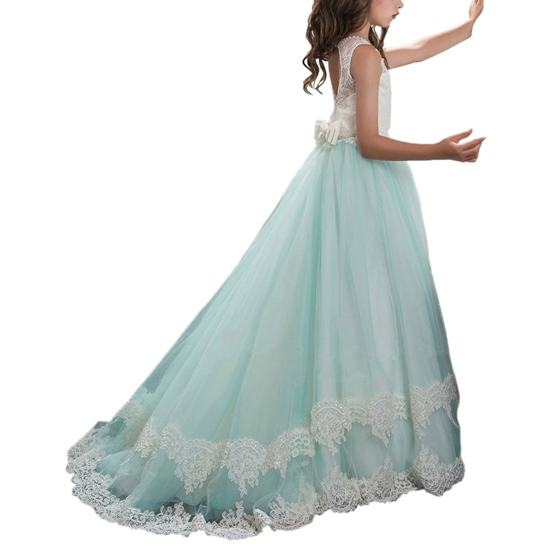 Amazon.com: Y&C Girls Starp Chest Full Crystal Ball Gown Floor ...
