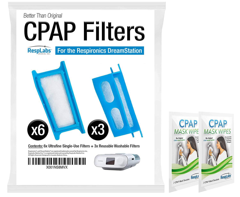 RespLabs CPAP-Filter, kompatibel mit Philips Respironics Dreamstation: 6 x Einmalgebrauch, 3 x wiederverwendbar, hypoallergen, passgenau. RespLabs Medical Inc.
