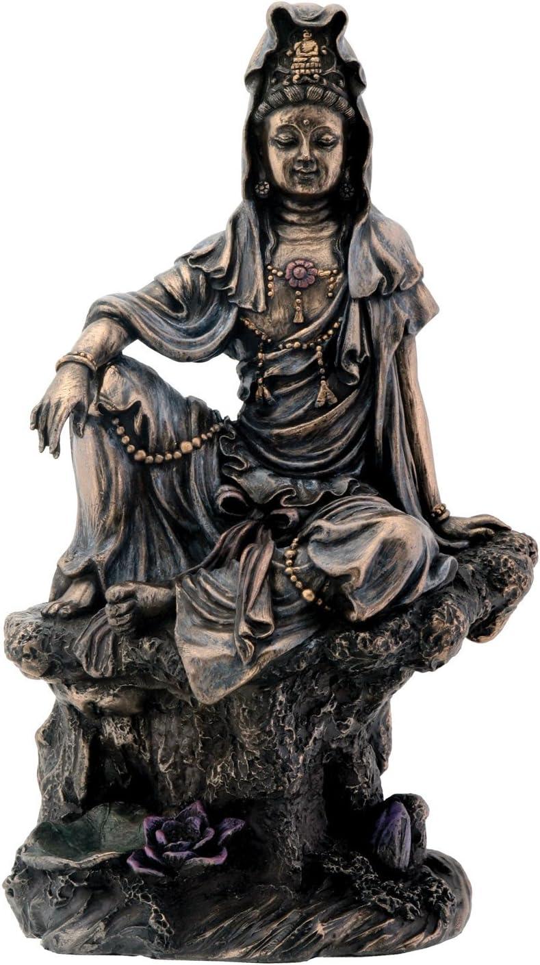 7 Inch Bronze Water and Moon Kuan Yin Buddhism Statue Figurine