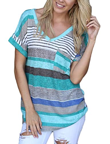 Yidarton Womens Summer/Autumn Striped T Shirts V/Round Neck Blouse Short/Long Sleeve Casual Tops Pullover Jumpers