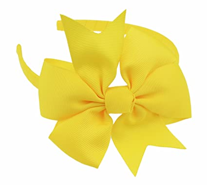 Girls Party School Large Grosgrain Ribbon Bow 1cm Headband Alice Band Forked (Canary Yellow)