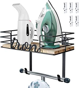 TJ.MOREE Laundry Room Decor-Ironing Board Hanger Wall Mount -Iron and Ironing Board Holder, Metal Wall Mount with Large Storage Wooden Base Basket and Removable Hooks (Black) Wood Clips White