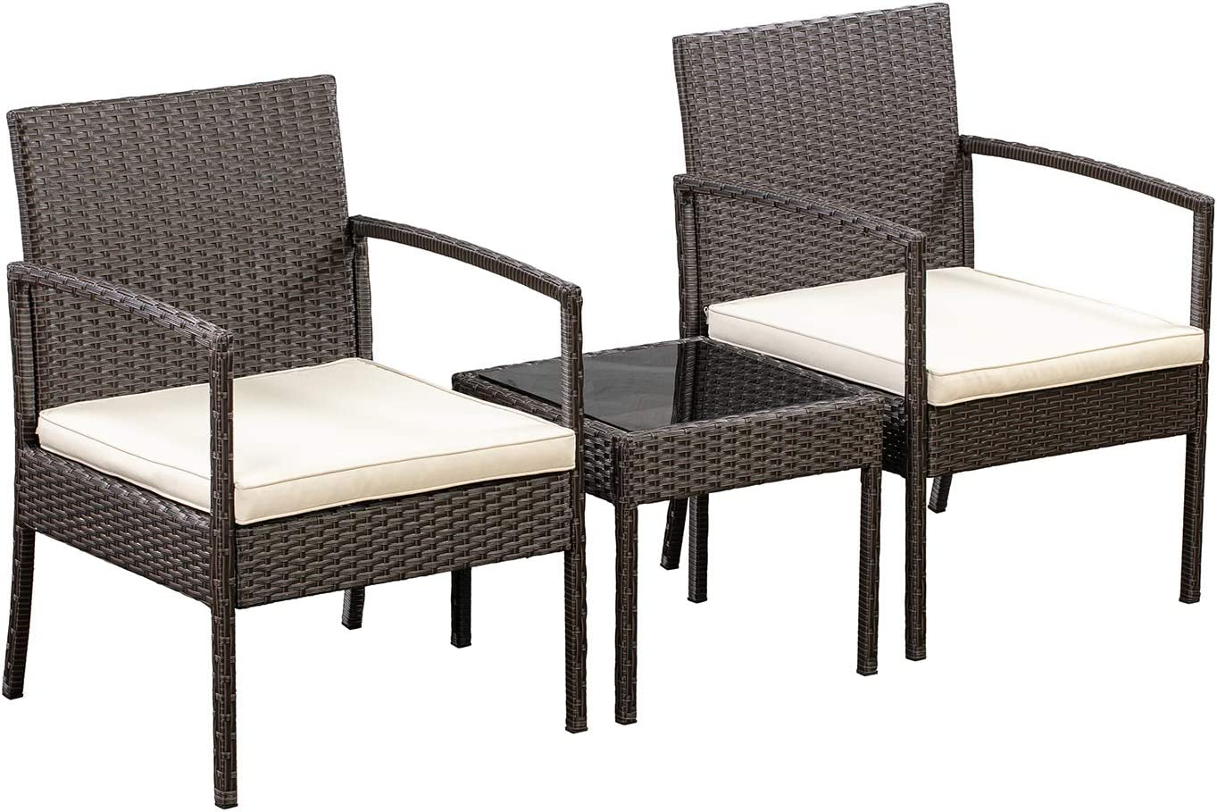 AmazonBasics Outdoor Patio Garden Faux Wicker Rattan Chair Conversation Set with Cushion - 3-Piece Set, Brown