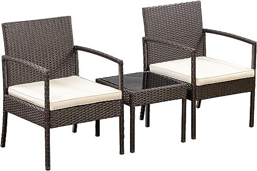 Amazon Basics Outdoor Patio Garden Faux Wicker Rattan Chair Conversation Set