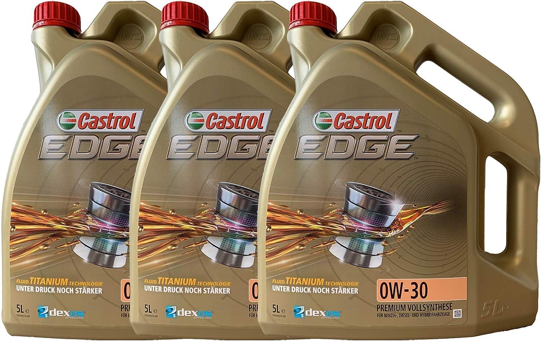 3x 5 L 15 Liter Castrol Edge Fluid Titanium 0w 30 Motoröl Inkl Castrol Ölwechselanhänger Auto