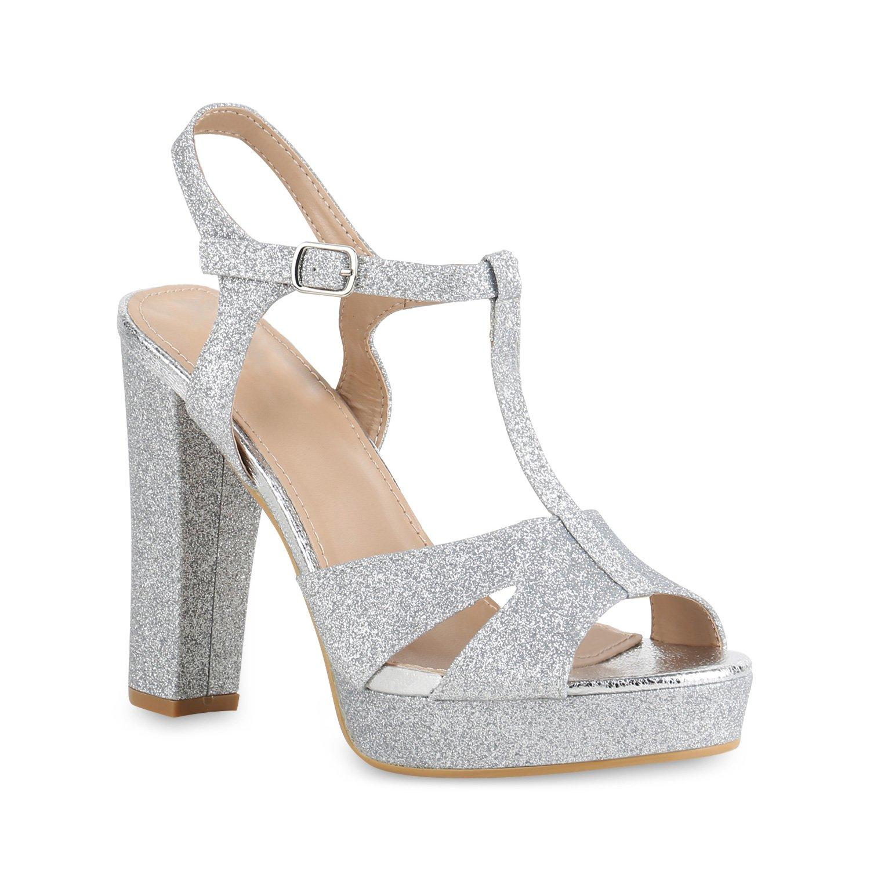 Stiefelparadies Damen Plateau Sandaletten mit Blockabsatz Samtoptik Glitzer Flandell Silber