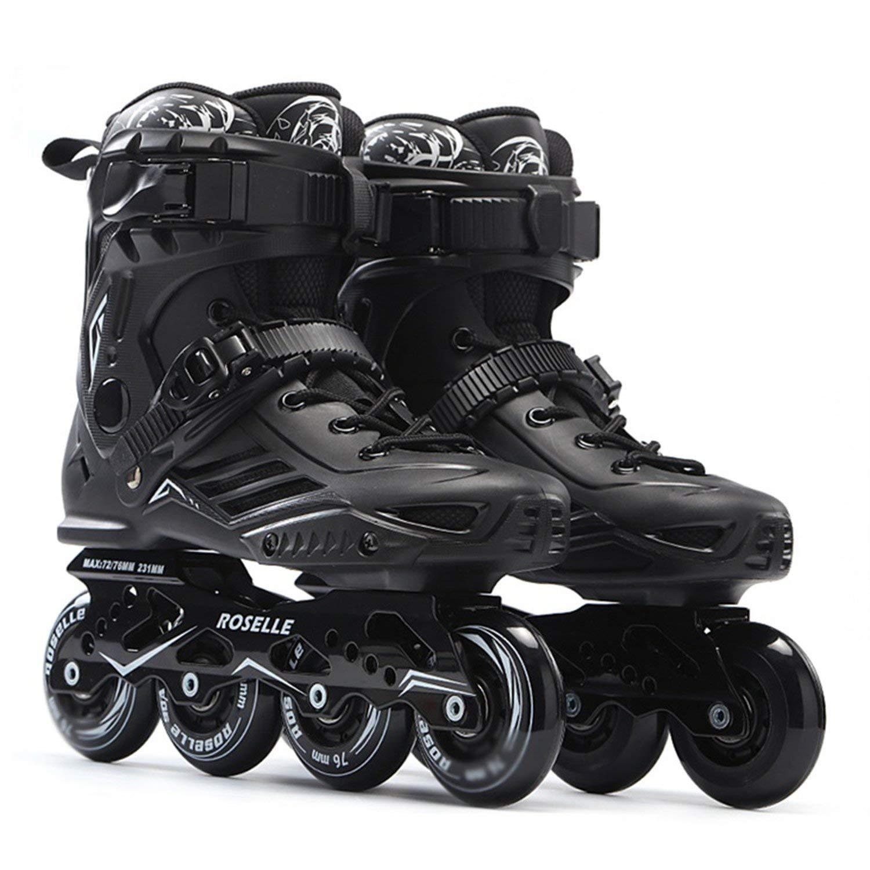 Skates Professional Slalom Skates Roller Free Skating Shoes Sliding Patines,Black,45