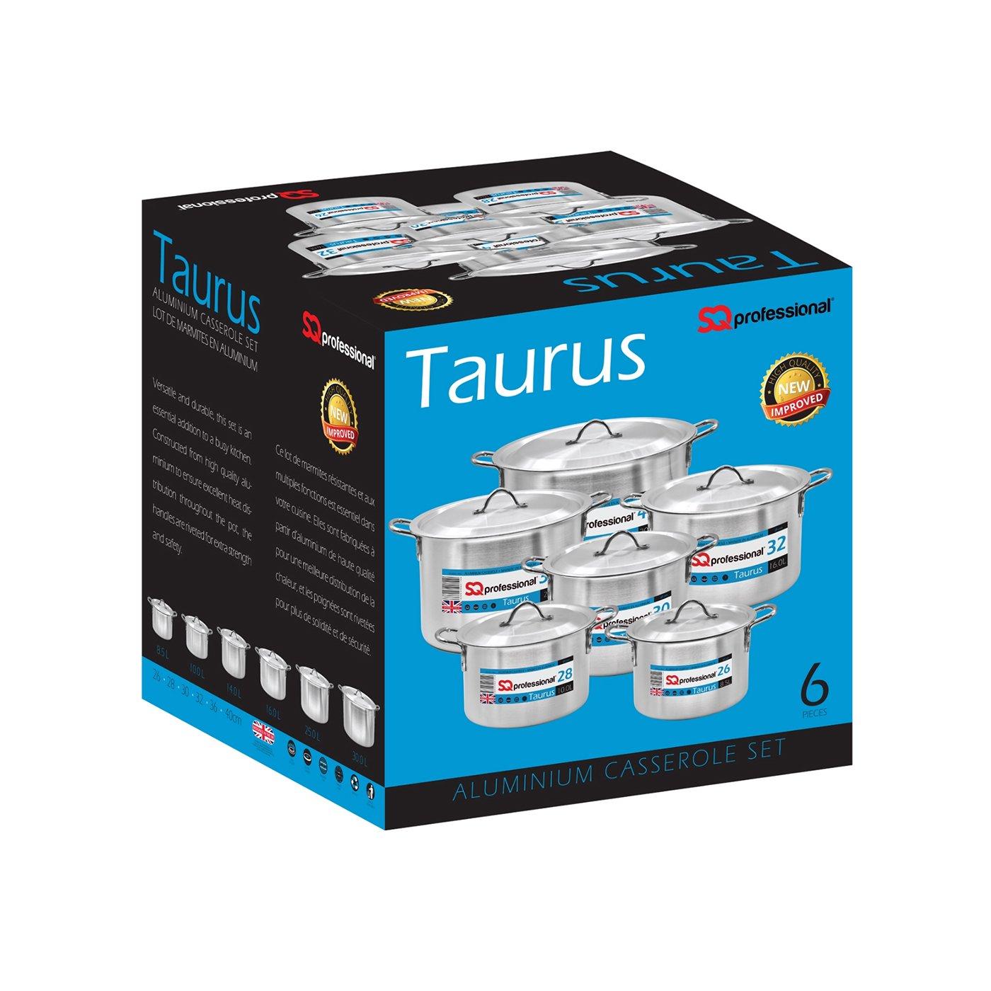 40/cm Argent SQ Professional 6pi/èce Ensemble de casserole en aluminium Taurus 26