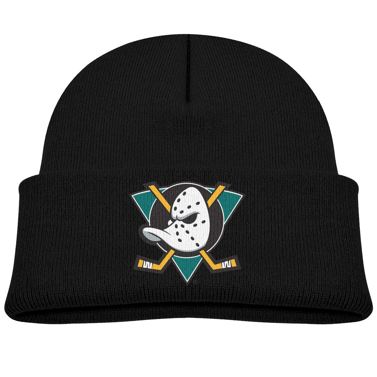 Wallsda Mighty Ducks Of Anaheim Logo Kids Warm Winter Hats Acrylic Knit Cuff Beanie Cap Daily Beanie Hat