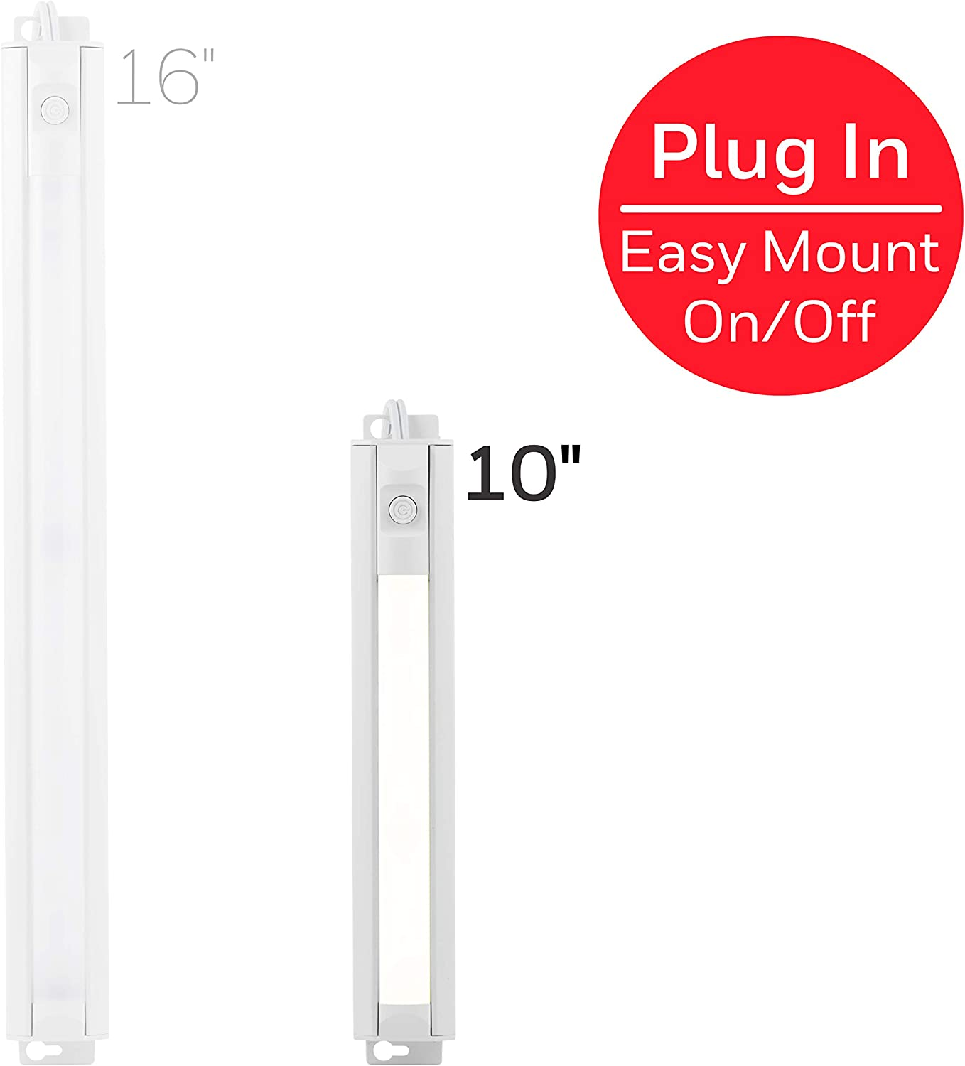 Honeywell 10in. LED Fixture, Bar, Flat Plug, Slim, Switch, Warm Bright, Closet, Cabinet Lighting, 44127, 10 in, White