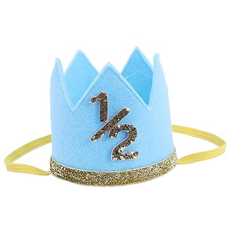 SODIAL Newborn Infant Toddler Baby Girl Boy Half 1 2 First Second Third Birthday Crown