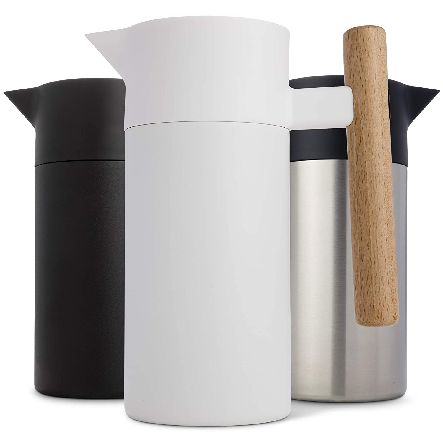 Stainless Steel Thermal Coffee Carafe​ - ​Double-Walled​ ​Vacuum Insulated​ ​Thermos and Beverage Pot ​- ​Compact, Travel-Size​ ​Strainer​ ​for​ Tea, ​Infused Drinks and Water ​- 40 Fl oz, White