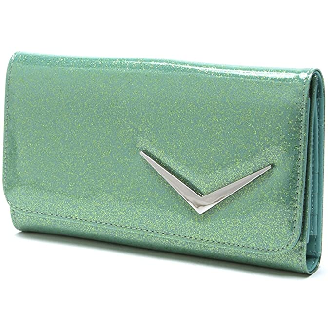 1950s Handbags, Purses, and Evening Bag Styles Lux De Ville Getaway Wallet Baby Green Sparkle $44.95 AT vintagedancer.com