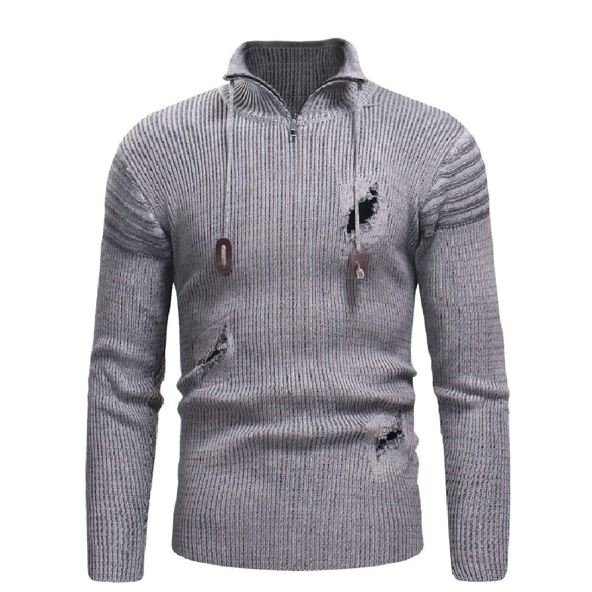 Zimaes-Men Fall Winter Knit Long-Sleeve Ripped Distressed Pullover Zipper Sweaters