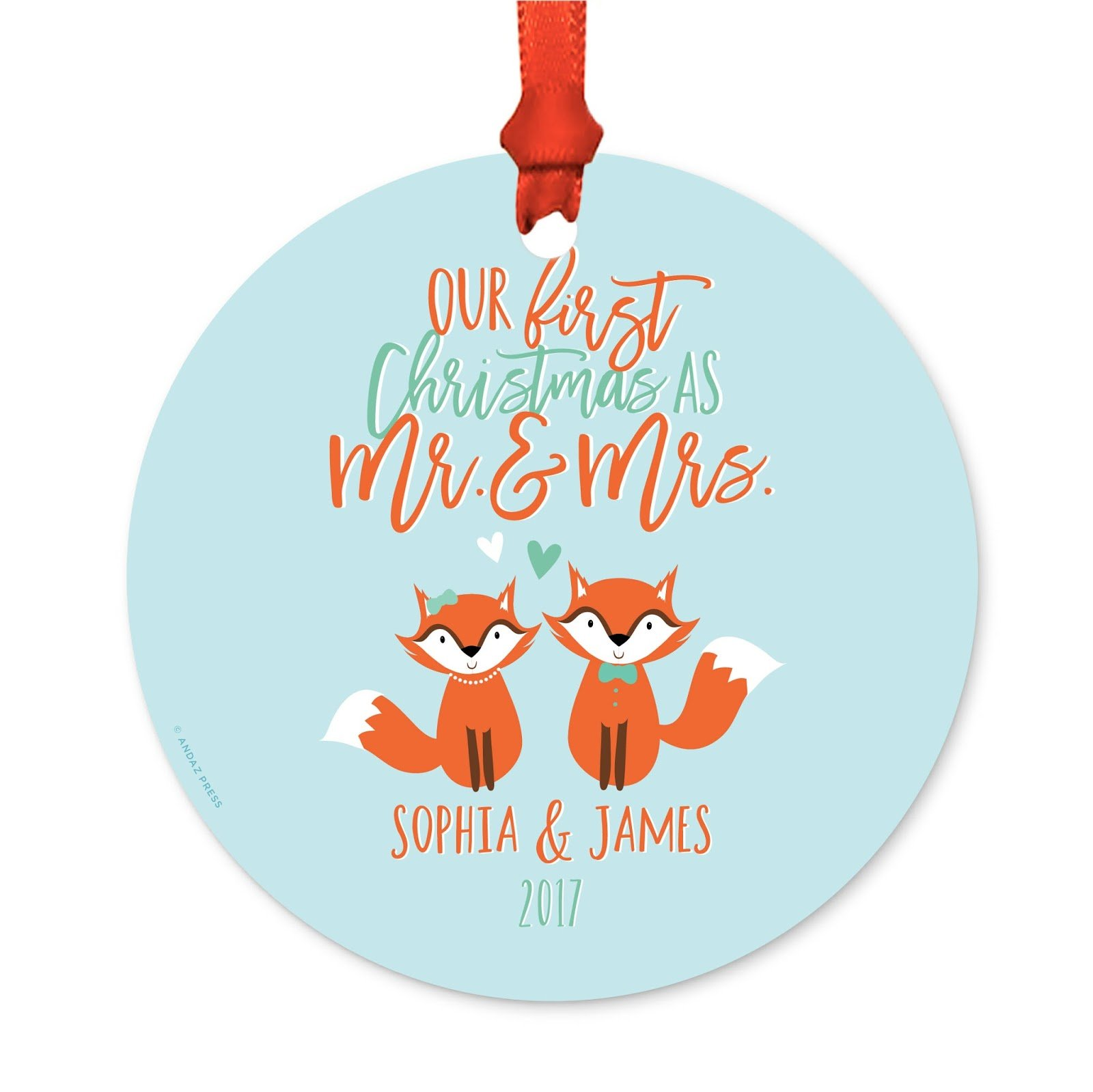Andaz Press Personalized Wedding Metal Christmas Ornament, Our First Christmas As Mr. and Mrs. 2018, Holiday Love Foxes, 1-Pack, Sophia & James, Includes Ribbon and Gift Bag, Custom Name