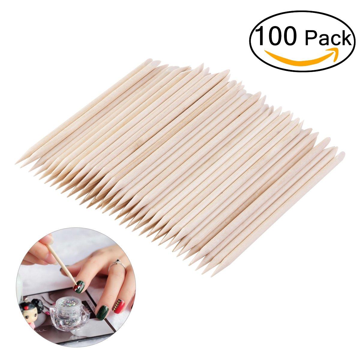 TINKSKY Multi-funzionale Nail Art bastoni bastoni di legno arancione polacco cuticola Pusher per togliere, confezione da 100
