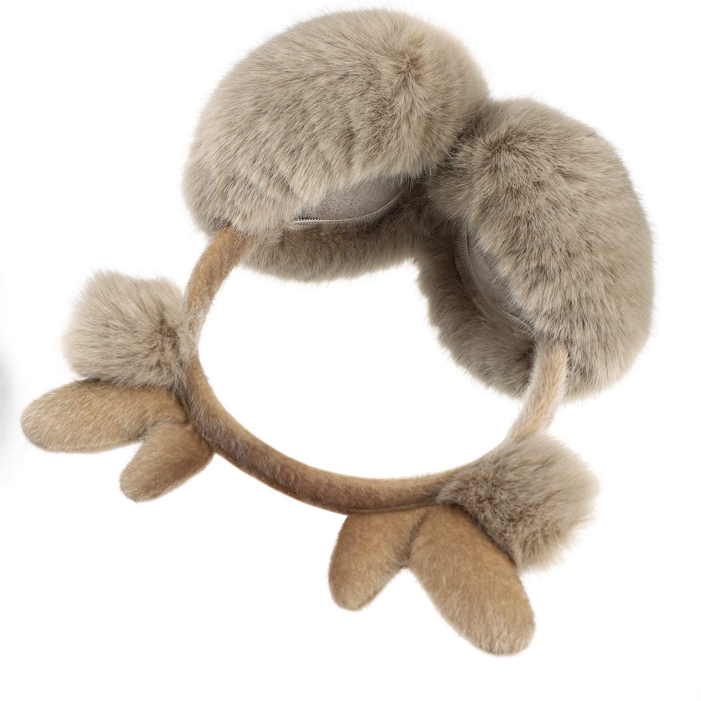 Cute Earmuffs for Women Girls Men Boys Soft Fluffy Faux Fur Earmuffs Cartoon Christmas Reindeer Elf Earmuffs Thicken Plush Ear Warmer Winter Warm Earflaps Ears Protector Adjustable Foldable Xmas Gift