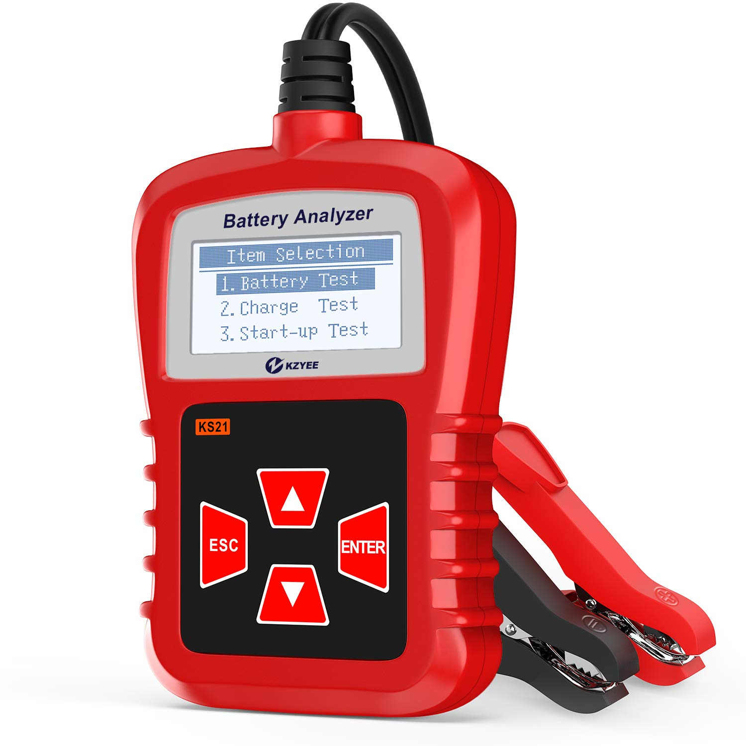 Kzyee KS21 Car Battery Tester, Automotive 100-1700 CCA 12V Battery Load Tester Cranking and Charging System Diagnostic Tool Digital Battery Analyzer by Kzyee (Image #1)
