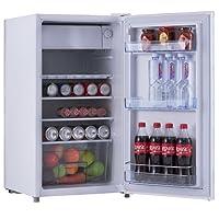 COSTWAY Kühlschrank mit Gefrierfach Standkühlschrank Gefrierschrank Kühl-Gefrier-Kombination / A+ / 91L / Weiß