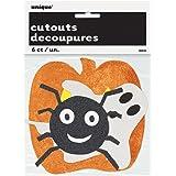 Paper Cutout Glitter Halloween Decorations, Assorted 6ct
