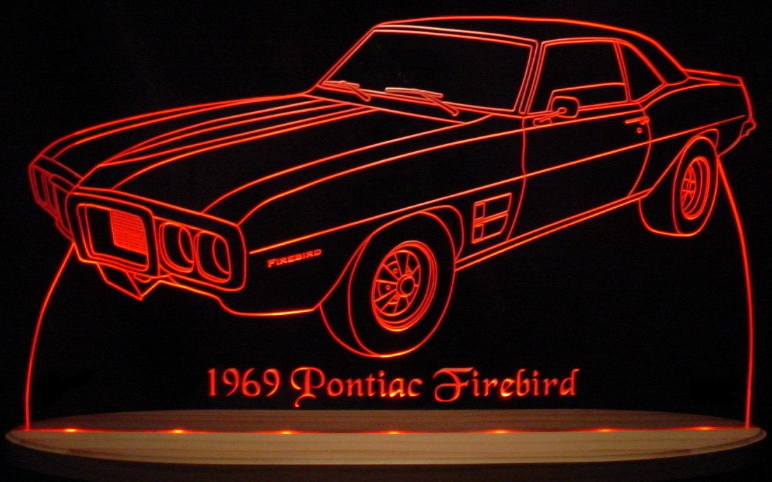1969 Firebird No Scoops Acrylic Lighted Edge Lit LED Sign Awesome 21'' Light Up Plaque 69 VVD9 Full Size USA Original