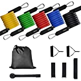 Sports Resistance Band Unisex, Fitness Resistance Band Set, Including 5 Fitness Tubes/Handle/Door Anchor/Sling/Carrying Bag/Exercise Guide for Gym, Outdoor Travel