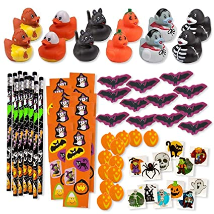 156 Piece Mega Halloween Toy Novelty Assortment; 12 Halloween Ducks, 12 Halloween Pencils, 12 Halloween Sticker Sheets; 48 Halloween Erasers; 72 Halloween Glitter Tattoos!!